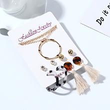韩版百搭创意时尚树脂小清新圈圈项链耳环套装