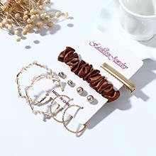 韩版简约新潮风靡小清新百搭创意珍珠水钻耳环发夹套装