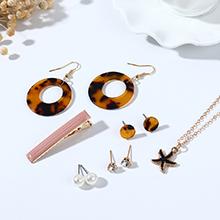 欧美简约小清新百搭新潮时尚海星树脂珍珠耳环项链发夹套装