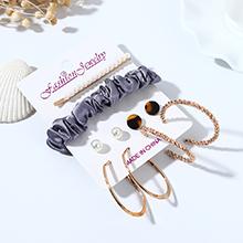 韩版复古仙女系风靡ins潮百搭个性树脂珍珠耳环发夹套装