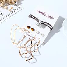 欧美复古创意夸张百搭个性气质大牌树脂小心心珍珠耳环发带套装
