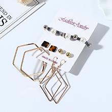 韩版创意小清新简约百搭气质复古树脂珍珠耳环发带套装