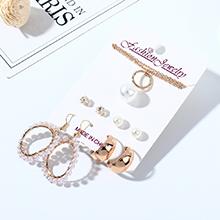欧美法式复古时尚简约大牌气质珍珠耳环项链套装