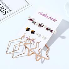 韩版创意百搭夸张时尚树脂小星星珍珠耳环发带套装