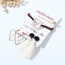 欧美复古时尚百搭创意夸张小桃心珍珠耳环发夹套装