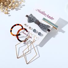 韩版小清新甜美系时尚百搭流行树脂蝴蝶结镂空耳环发夹套装