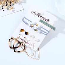 欧美时尚百搭气质大牌流行树脂豹纹小心心耳环发夹套装