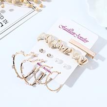 韩版时尚百搭个性甜美系小心心镂空耳钉发夹套装