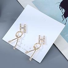 欧美镀真金时尚气质百搭个性经典字母水晶玻璃S925银针