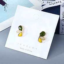 韩版镀真金小清新百搭小众ins潮流行爆款S925银针(绿色+黄色)