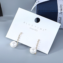 欧美镀真金简约小清新小众百搭风靡复古时尚珍珠水晶S925银针