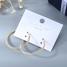 韩版镀真金大气时尚大牌创意个性百搭大圆圈镂空S925银针(14K金)