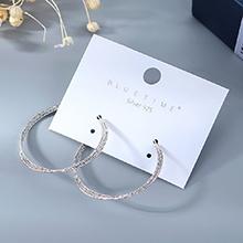 韩版镀真金大气时尚大牌创意个性百搭大圆圈镂空S925银针(白金)