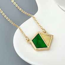 镀真金项链--菱形三角(橄榄)