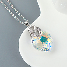 奥地利水晶项链--心心相印(彩白)