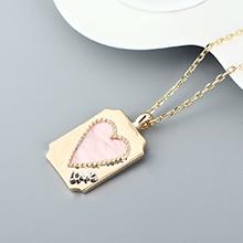 镀真金项链--爱你的心(粉色)
