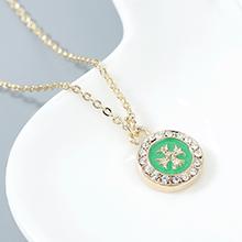 进口水晶项链--幸运十字架(绿色)