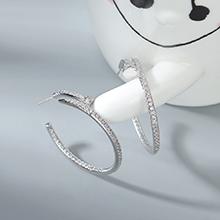 AAA级锆石耳环--幸福圈(白金)