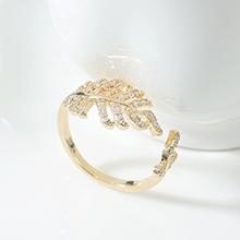 AAA级锆石戒指--一叶知秋(14K金)