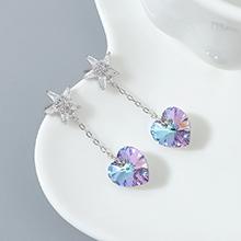 奥地利水晶耳钉--星心(紫光)