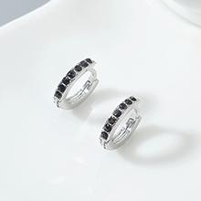 进口水晶耳环--小年轮(白金+黑色)