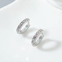 进口水晶耳环--小年轮(白金+白色)