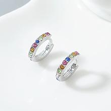 进口水晶耳环--小年轮(白金+彩色)