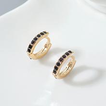 进口水晶耳环--小年轮(香槟金+黑色)