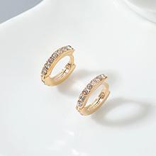 进口水晶耳环--小年轮(香槟金+白色)