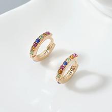 进口水晶耳环--小年轮(香槟金+彩色)