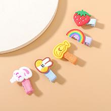 韩版甜美百搭流行爆款草莓彩虹发夹套装