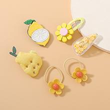 欧美甜美可爱小仙女百搭简约小清新芒果发带发夹套装(黄色)