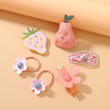 欧美甜美可爱小仙女百搭简约小清新草莓发带发夹套装(粉红)