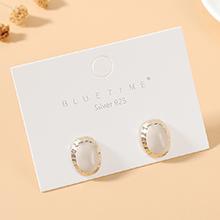 韩版镀真金时尚气质风靡ins潮流行爆款S925银针(白色)