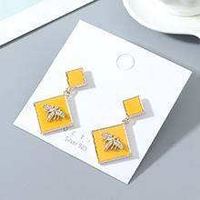 韩版镀真金小众百搭时尚创意小蜜蜂S925银针(黄色)