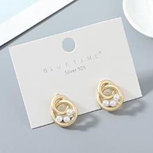欧美镀真金小清新小众时尚百搭冷淡风创意珍珠S925银针