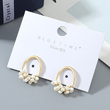 欧美镀真金时尚冷淡风风靡ins潮流行爆款珍珠S925银针