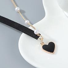 韩版创意百搭时尚气质大牌珍珠小心心项链(黑色)