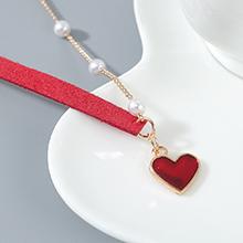韩版创意百搭时尚气质大牌珍珠小心心项链(红色)