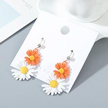 韩版镀真金东大门时尚个性小仙女小清新小皱菊耳环(橙色+白色)