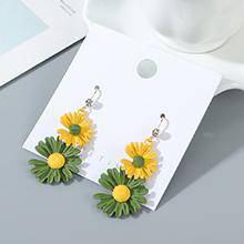 韩版镀真金东大门时尚个性小仙女小清新小皱菊耳环(黄色+绿色)