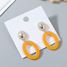 韩版时尚风靡气质大牌个性树脂镂空耳钉(黄色)