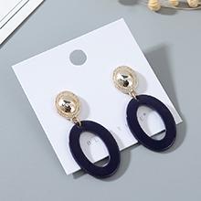 韩版时尚风靡气质大牌个性树脂镂空耳钉(深蓝)