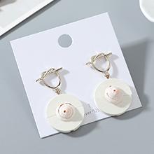 韩版东大门时尚个性百搭创意木头贝壳耳钉(白色)