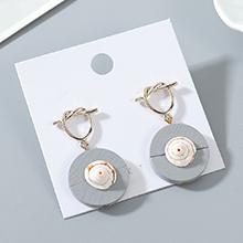 韩版东大门时尚个性百搭创意木头贝壳耳钉(灰色)