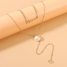 欧美复古时尚创意个性百搭经典字母珍珠项链