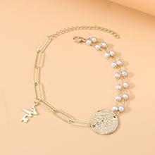 欧美时尚法式百搭复古罗马头像珍珠脚链