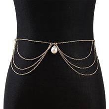欧美时尚复古百搭个性性感珍珠腰链