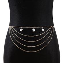 欧美创意百搭个性夸张气质大牌珍珠桃心腰链