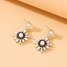 韩版镀真金复古时尚百搭民族风个性流行珍珠S925银针